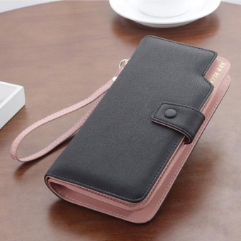 Toprate Cowhide Leather Long Wallet for Women Large CapabilityPurse Handbag Korean Fashion Hasp Phone Bag Card Holders DetachableWristlet(Black) - intl