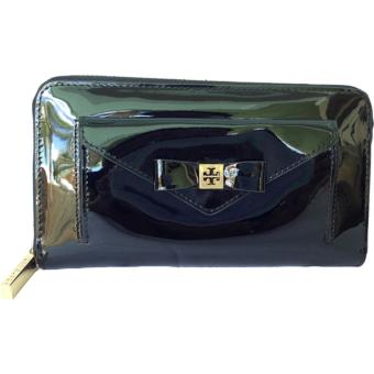 Tory Burch Bow Leather Zip Wallet BLACK