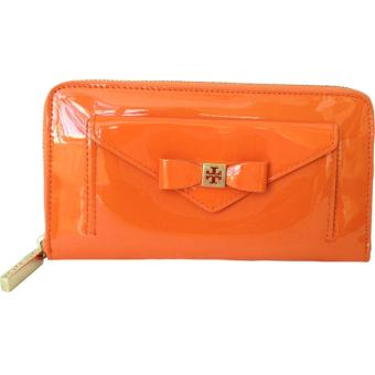 Tory Burch Bow Leather Zip Wallet ORANGE