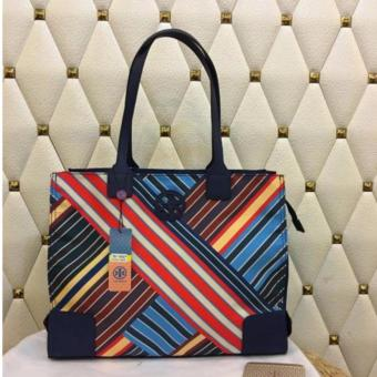 Tory Burch Ella Lines Print Tote Bag Medium Navy Blue Price Philippines