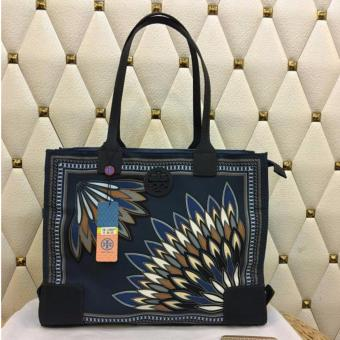 Tory Burch Ella Tote Bag Medium Navy Blue
