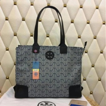 Tory Burch T Print Tote Bag Medium in Black