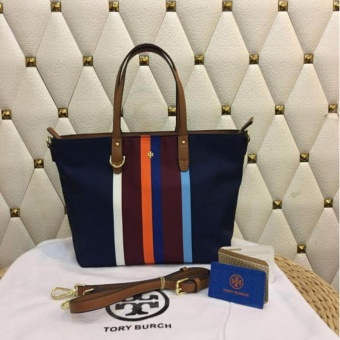 Tory Burch Vertical Lines Print Tote Bag in Navy Blue