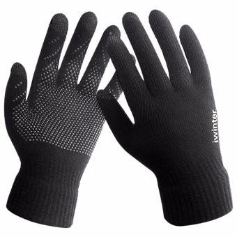 Touchscreen gloves men winter non-slip drive female knitting woolencouple plus cashmere warm gloves outdoors - intl