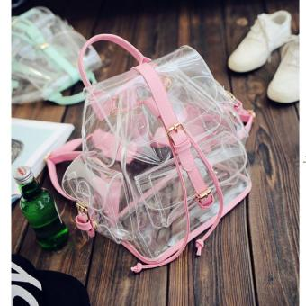 Transparent Backpack Women's Crystal Large Beach Bags Candy Color Jelly Bags Girls Waterproof Summer Clear Personalized Backpacks,Pink - intl