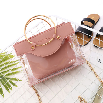 Transparent female spring and summer New style Portable Package bag (Pink)
