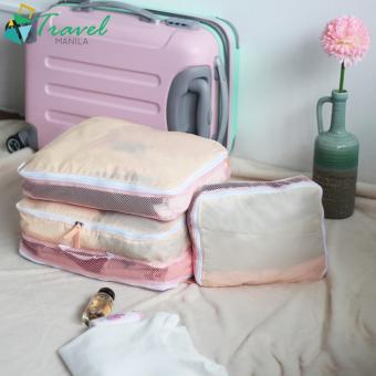 Travel Manila 3 in 1 Packing Cubes Pouch Bag (Pink)