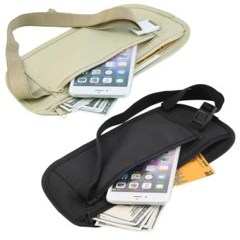 Travel Pouch Hidden Zippered Waist Compact Security Money Waist Belt Bag Black