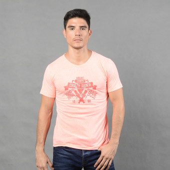 Treeco Fashionable Printed Round Neck Free Size T Shirt for Men(Pink)