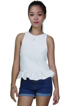 Trendy Fashionable Sandy Womens Blouse-Sleeveless (white) Price Philippines