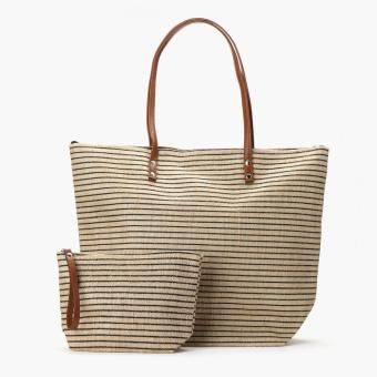 Tropiko by Kultura Ladies Striped Jute Tote Bag with Pouch (Black)