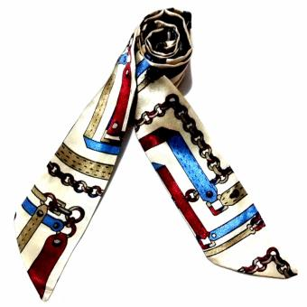 Twilly Silk Scarf And Wraps Bag Accessory Blackchain Print Design(White)