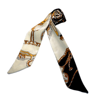 Twilly Silk Scarf And Wraps Bag Accessory Goldchain Print Design(White Black)