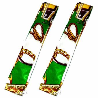 Twilly Silk Scarf And Wraps Bag Accessory Goldchain Print Design(White Green)