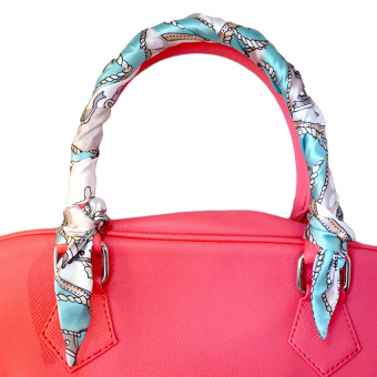 Twilly Silk Scarf And Wraps Bag Accessory Whitechain Print Design(Teal) - 4