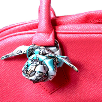 Twilly Silk Scarf And Wraps Bag Accessory Whitechain Print Design(Teal) - 5