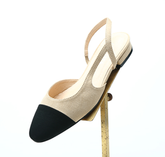 Two-Tone New style square head semi-high heeled female shoes (M velvet after empty flat) (M velvet after empty flat)