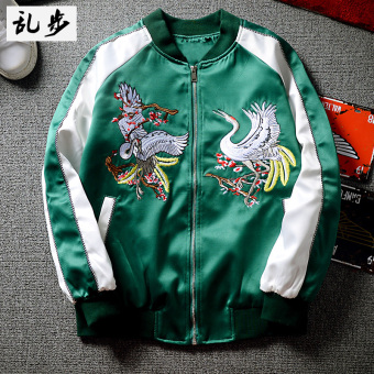 Ulzzang baseball clothes embroidered jacket (3156 embroidered Crane jacket green)
