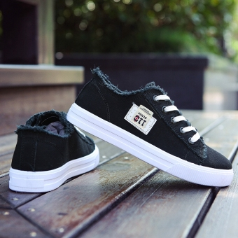 Ulzzang casual female autumn and winter flat white shoes athletic shoes (Black)