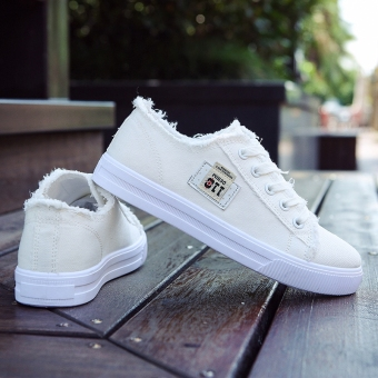 Ulzzang casual female autumn and winter flat white shoes athletic shoes (White)