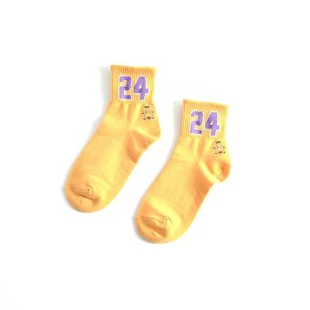 Ulzzang college style couple's socks cotton women's socks (Yellow 24)