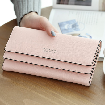 Ulzzang cool solid color female large capacity wallet long wallet (Orange pink)