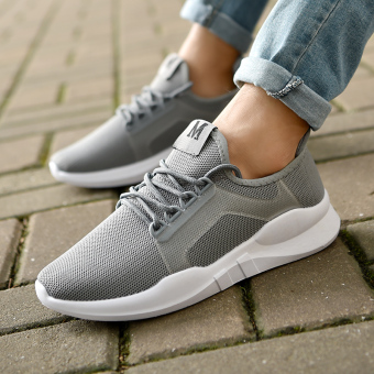 Ulzzang couple's breathable casual men's shoes summer sports shoes (Gray)