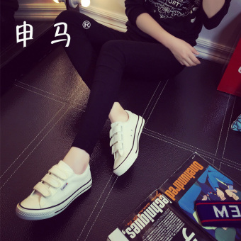 Ulzzang female flat Velcro casual shoes white canvas shoes (A02 white)