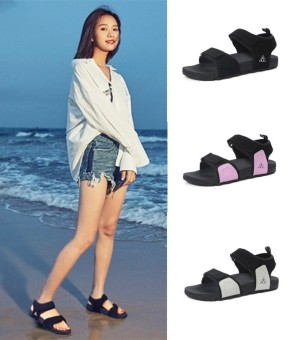 Ulzzang Female Summer New style women's shoes sandals (Black)