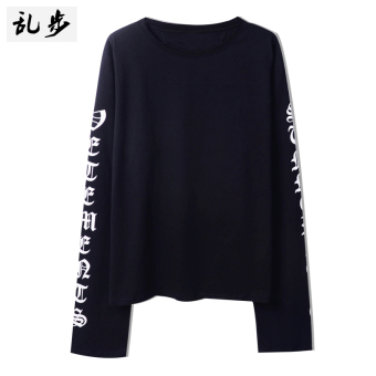 Ulzzang GOTHIQUE style lettered mid-length T-shirt (16011 long-sleeved t black)