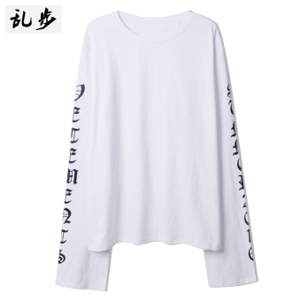 Ulzzang GOTHIQUE style lettered mid-length T-shirt (16011 long-sleeved t white)