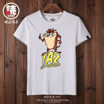 Ulzzang Korean-style Big Dog summer short sleeved T-shirt (White Taz-EGA) (White Taz-EGA)