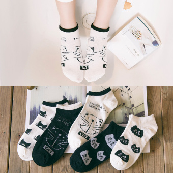 Ulzzang Korean-style cat thin spring and summer women's Socks (944 Japanese-style Ulzzang cat short socks) (944 Japanese-style Ulzzang cat short socks)