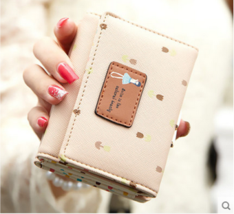 Ulzzang Korean-style female student folding small wallet (Beige)