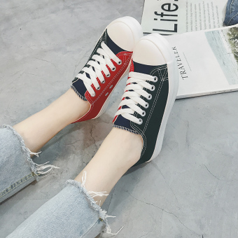 Ulzzang Korean-style female student New style white shoes canvas shoes (Blue)