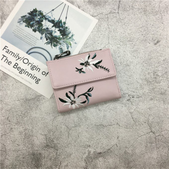 Ulzzang Korean-style mini student short zip purse New style women's wallet (Pink)