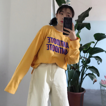 Ulzzang Korean-style New Style lettered LOOESN long-sleeved t-shirt (Yellow)
