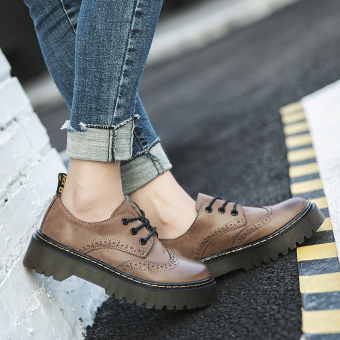 Ulzzang Korean-style New style thick bottomed Martin shoes small leather shoes (Brown)