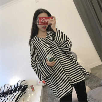 Ulzzang Korean-style New style wind hooded striped hoodie cardigan