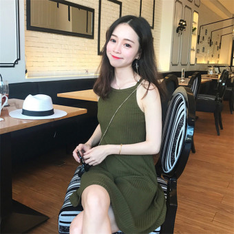 Ulzzang Korean-style pit strip New style wind Dungaree dress (Dark green color) (Dark green color)