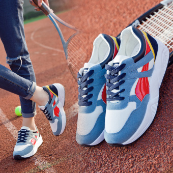Ulzzang Korean-style Plus velvet female autumn and winter New style women's shoes athletic shoes (Blue Red (Spring models))