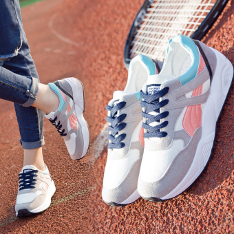 Ulzzang Korean-style Plus velvet female autumn and winter New style women's shoes athletic shoes (Gray pink (Spring models))