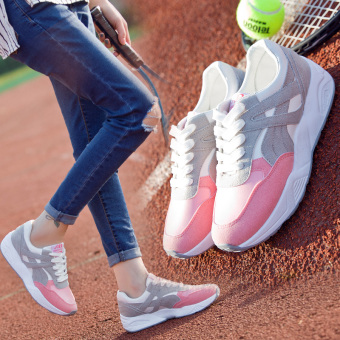 Ulzzang Korean-style Plus velvet female autumn and winter New style women's shoes athletic shoes (Pink (spring and models))