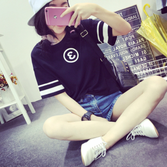 Ulzzang Korean-style short sleeved t-shirt New style T-shirt (Black)
