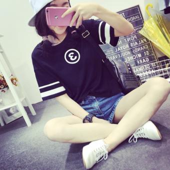 Ulzzang Korean-style short sleeved t-shirt New style T-shirt (Black)