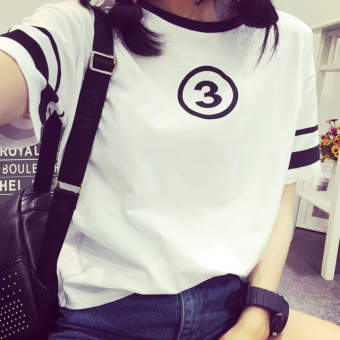 Ulzzang Korean-style short sleeved t-shirt New style T-shirt (White)