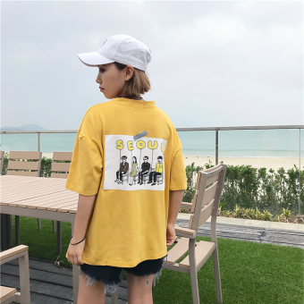 Ulzzang Korean-style style New style with pockets T-shirt (Yellow)