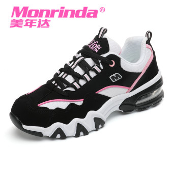 Ulzzang Korean version cushion female thick bottomed running shoes athletic shoes (Black pink [women's])