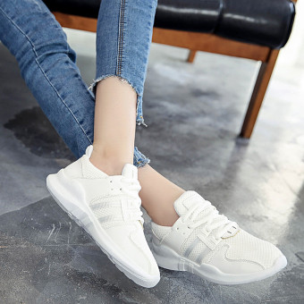Ulzzang Korean version of breathable mesh female New style travel shoes athletic shoes (White) Price in Philippines