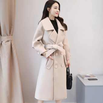 Ulzzang Korean version of female mid-length New style woolen coat (Off-white color)